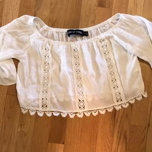 off the shoulder white crop top from LF